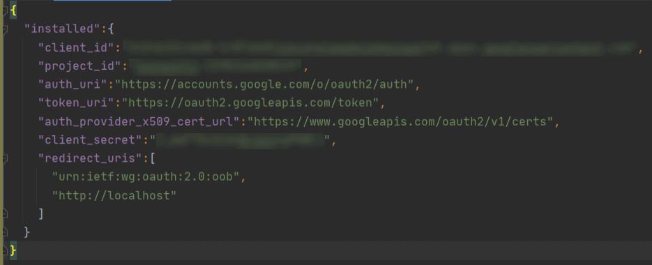 Googele Spreadsheet API Credentials JSON file