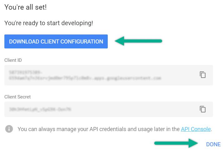 Download Google Sheets Credentials