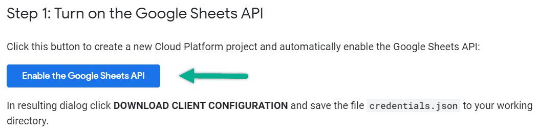 enable google sheets api
